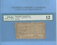 1774 $ 1/2 DOLLAR MARYLAND EARLY COLONIAL NOTE HISTORY MD 64 PMG FINE 12