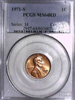 1971 S LINCOLN MEMORIAL CENT PCGS MS 64 RD 60160741