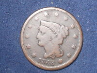 1843 1C PETITE HEAD LARGE LETTERS BRAIDED HAIR CENT  VG? YOU JUDGE