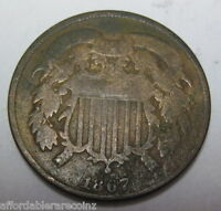 1867 EARLY COPPER TWO CENT COLLECTOR COIN 79E