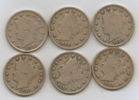 SIX LIBERTY NICKEL FIVE CENTS - MOST  FINES 1902, 1906, 1909, 1910, 11, & 12