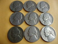 9 DIFFERENT  JEFFERSON NICKELS  1939   1947 D  WITH A 1942 P WAR NICKEL