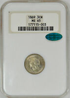 1869 THREE CENT NICKEL  OLD FAT HOLDER CAC  3CN   NGC MS65 CAC