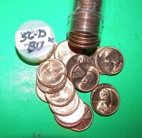 1956 D FULL ROLL OF BU LINCOLN PENNY CENT UNCIRCULATED COINS