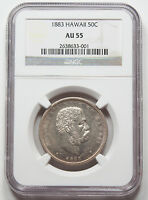 1883 HAWAII SILVER HALF 1/2 DOLLAR 50 CENT COIN NGC AU 55 KING KALAKAUA AU