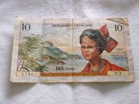 FRENCH ANTILLES 10 FRANCS 1964 P8A  BANKNOTE  A1736