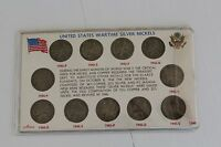 UNITED STATES WARTIME SILVER NICKELS  1942 1945 JEFFERSON FULL SET