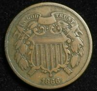 1866 TWO CENT PIECE KEY DATE BETTER GRADE COIN 2C $