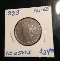 1883 LIBERTY 5 CENT PIECE NO CENTS   FIRST YEAR ISSUED