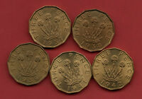 BRASS THREEPENNY BIT COINS 1937 1938 1939 1941 1942 THREE PENCE COIN. HIGH GRADE