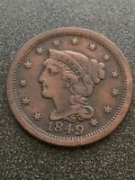 1849 BRAIDED HAIR LARGE CENT