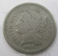 1866 THREE CENT NICKEL COLLECTOR COIN 42S
