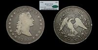 1795 FLOWING HAIR SILVER DOLLAR 2 LEAVES VG10 PCGS CAC $1
