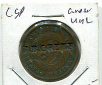 1868 US COPPER 2 CENT CSP J B GREER COIN 2C TOKEN COUNTERSTAMPED