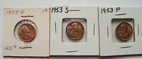 1953-S 1953-D 1953 LINCOLN WHEAT CENT UNGRADED