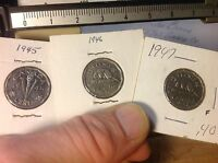 1945 1946 1947 CANADA NICKELS 5 CENTS 3 DIFFERENT DATES  CANADIAN