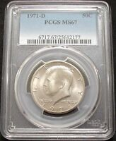 1971 D PCGS MS67 KENNEDY HALF   ONLY 2 GRADED HIGHER BY PCGS / 40 OFF PCGS LIST