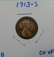 1913-S LINCOLN WHEAT CENT F/VF --  WE COMBINE SHIPPING
