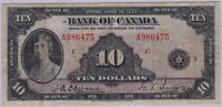1935 BANK OF CANADA $10 BANK NOTE   ENGLISH   CHECK LETTER C   BCS GRADED V F 25