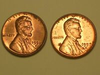 1956 D  1957 D    LINCOLN WHEAT PENNY CENTS   NICE COINS