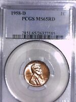 1958 D LINCOLN WHEAT CENT PCGS MS 65 RD 26327585