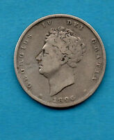 1826 SILVER ONE SHILLING COIN. GEORGE IV.  1/