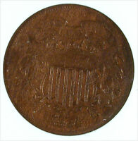 1864 LARGE MOTTO TWO CENT PIECE REPUNCHED DATE VF-35 ANACS CERTIFIED
