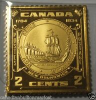1784 1934 CANADA NEWBRUNSWICK 2 CENT STERLING SILVER STAMP BAR FRANKLIN MINT