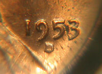 1953D USA LINCOLN WHEAT PENNY COIN ONE CENT 1 AU   RED FILLED/PLUGGED D ERROR