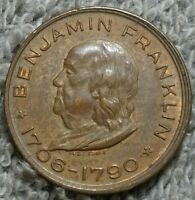 BENJAMIN FRANKLIN MEMORIAL SOUVENIR TOKEN 19MM 1706 1790 AU ABOUT UNCIRCULATED