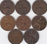 1912 1915   TO 1932  GREAT BRITAIN FARTHING    X 8   LOT LOOK