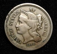 1866 THREE CENT NICKEL PIECE 3C KEY DATE BETTER GRADE $