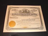 EARLY 1900 MASON YERINGTON MINES STOCK CERTIFICATE STATE OF UTAH VINTAGE NEW