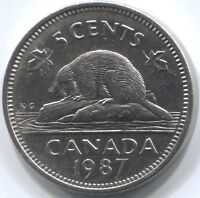 1987 CANADA FIVE CENTS COIN   KEY DATE