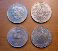 COLLECTION OF FOUR LOVELY BRITISH CROWN COINS 1953 1960 1977 1981