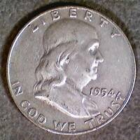 UNITED STATES SILVER FRANKLIN HALF DOLLAR   1954   D   50017