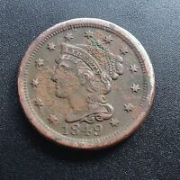 USA 1849 LARGE CENT MATRON HEAD LIBERTY ONE CENT KUPFER SELTEN 2264