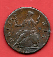 1771 KING GEORGE III COPPER HALF PENNY COIN. HALFPENNY. 1/2D