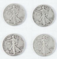 FOUR 1940S WALKING LIBERTY HEAD HALF DOLLARS 50 CENT PIECES