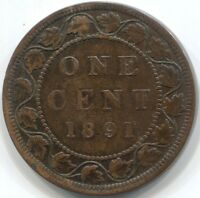 1891 LL LD CANADA ONE CENT COIN