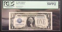 $1 SERIES 1928B SILVER CERTIFICATE / FUNNY BACK / PCGS 58 PPQ CHOICE ABOUT NEW