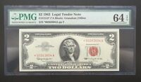 $2 SERIES 1963 US NOTE/ STAR NOTE/ PMG 64EPQ CHOICE UNC/ 1 OF 12 CONSECUTIVE/ 4