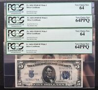 ONE X $5 SERIES 1934D SILVER CERTIFICATE /WIDE 1 / PCGS 64PPQ CHOICE NEW