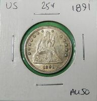 1891 SEATED LIBERTY SILVER QUARTER ALMOST UNCIRCULATED    WE COMBINE SHIPPING