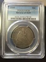 1840 PCGS VF30 SEATED LIBERTY HALF DOLLAR REV OF 1839
