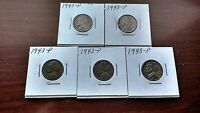 1943 P NICKELS FIVE COINS SILVER 35