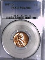 1957 D LINCOLN WHEAT CENT PCGS MS 65 RD 27708742