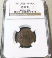 1864 LARGE MOTTO 2C PIECE   NGC  MINT STATE 64 BN  GORGEOUS 6342
