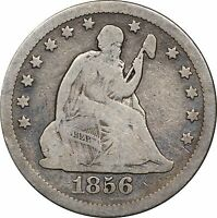 1856 O SEATED LIBERTY QUARTER VG