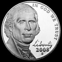 2008 S JEFFERSON NICKEL GEM CAMEO PROOF ROLL OF 40  COINS